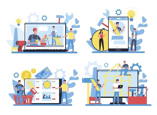 Service en ligne de menuisier ou de menuisier ou plate-forme sur un ensemble de concepts d'appareils différents. atelier de menuiserie et de menuiserie, consultation ou tutoriel.