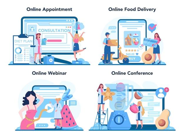 Service en ligne de nutritionniste ou illustration de jeu de plate-forme