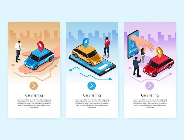 Service en ligne de partage de voitures bannières verticales isométriques avec auto sur écran mobile