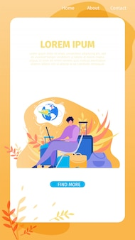 Service en ligne pour bannière web plat vecteur voyageur