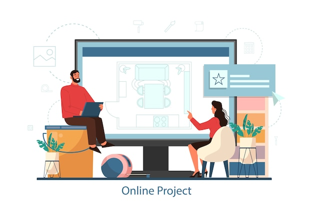 Service en ligne pour le concept de projet de design d'intérieur. décorateur planifiant la conception d'une pièce, choisissant la couleur des murs et le style des meubles. rénovation de la maison. illustration vectorielle plane isolée