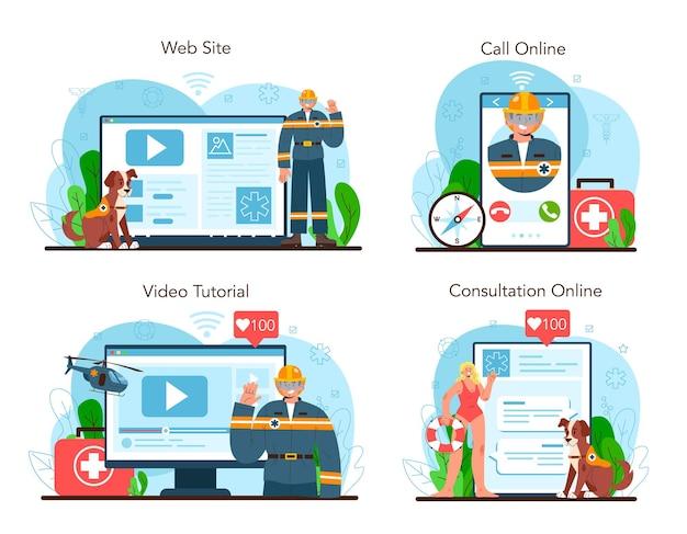 Service en ligne de sauveteur ou ensemble de plate-forme d'aide d'urgence sauveteur