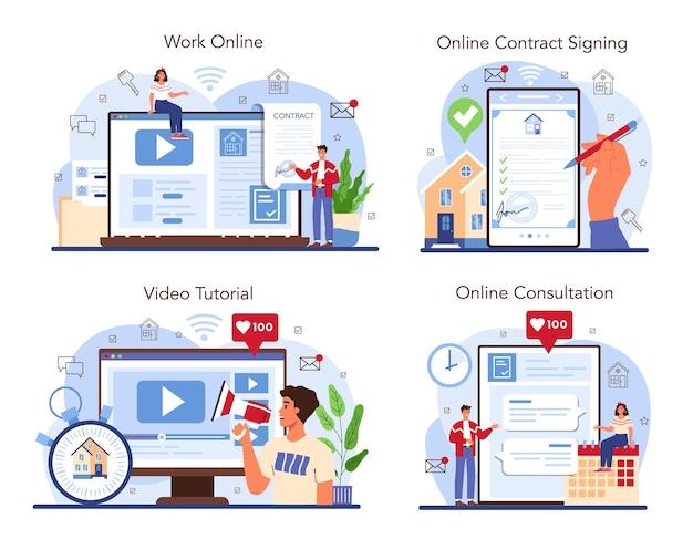 Service en ligne de service d'agence immobilière ou ensemble de plateformes. assistance