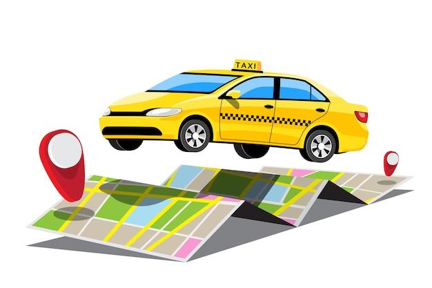 Service en ligne de taxi avec une carte