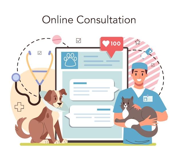 Service en ligne vétérinaire pour animaux de compagnie ou plateforme docteur vétérinaire