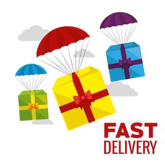 Service de livraison avec boîte-cadeau en parachute