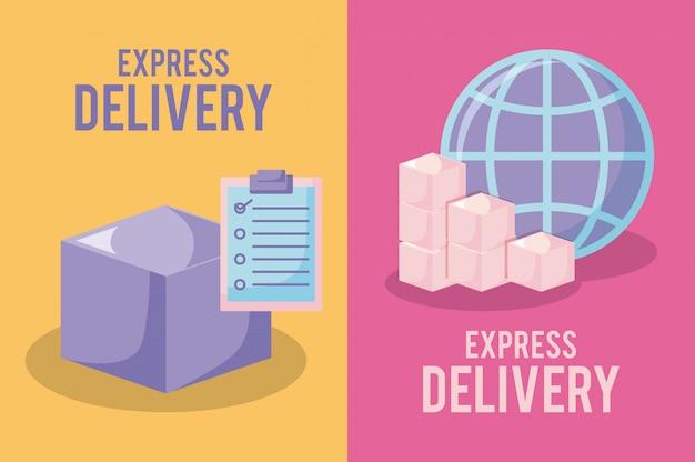 Service de livraison avec boîtes et navigateur