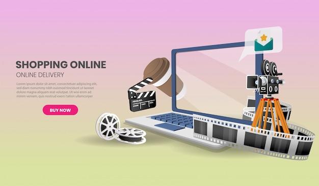Service de livraison de cinéma en ligne sur ordinateur portable sur le site web ou le concept marketing d'application mobile et le marketing numérique.