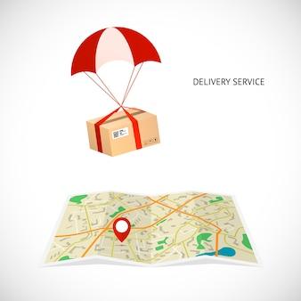 Service de livraison. le colis vole en parachute vers la destination indiquée par un pointeur sur la carte.