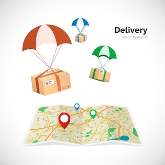 Service de livraison. les colis volent vers la destination indiquée sur la carte par le pointeur. illustration