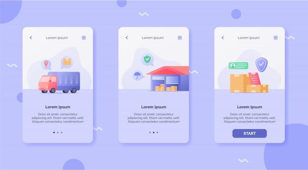Service de livraison avec le concept de campagne de boîte d'expédition de l'entrepôt de camions pour le modèle d'atterrissage de conception d'applications mobiles