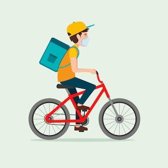 Service de livraison avec concept illustré de masques