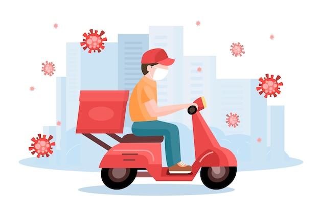 Service de livraison avec concept de masques illustré