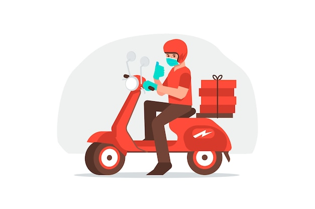 Service de livraison avec concept de masques