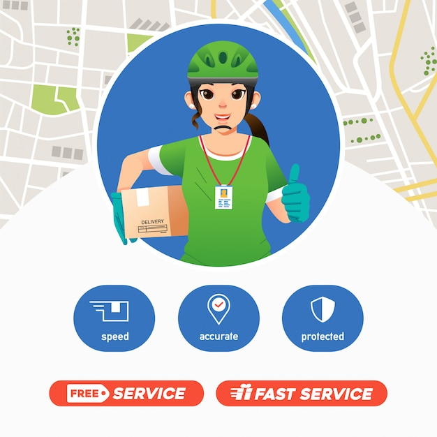 Le service de livraison de courrier de femmes apporte le paquet et donne le pouce vers le haut, la mascotte de la compagnie de livraison avec la carte