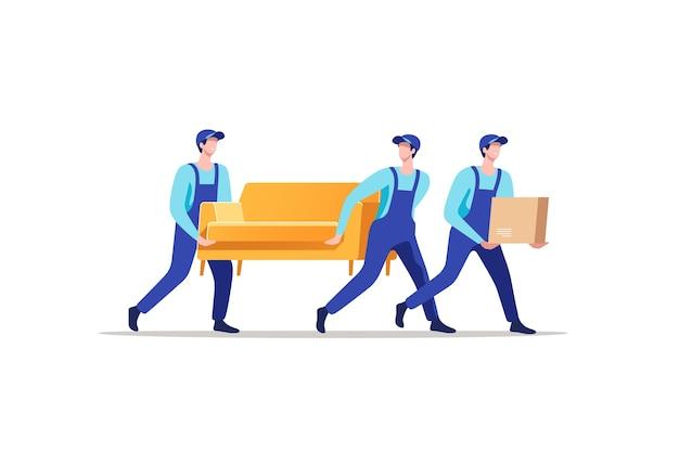 Service de livraison et déménagement. hommes en uniforme transportant un canapé et une boîte en carton.