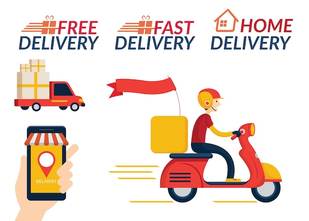 Service de livraison à domicile, achats en ligne, envoi par camion et scooter ou moto