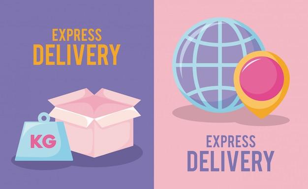 Service de livraison avec emplacement de la boîte et des broches
