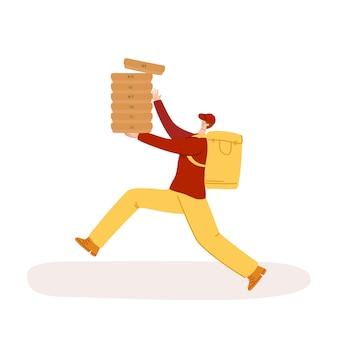 Service de livraison express - livraison sûre des produits, repas pour toute la semaine ou colis à domicile, homme drôle ou coursier en uniforme