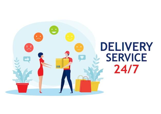 Service de livraison d'homme d'affaires avec service de rétroaction, commerce électronique. réception du colis du courrier au client.
