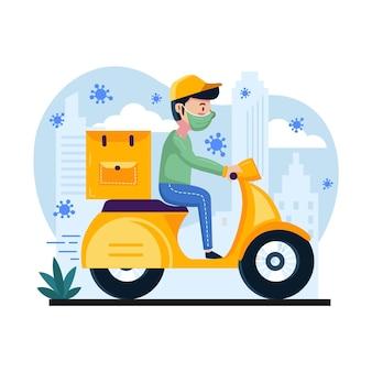 Service de livraison avec homme sur scooter