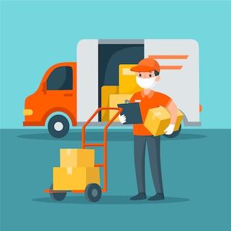 Service de livraison d'illustration avec concept de masque