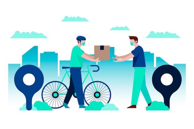 Service de livraison illustré avec concept de masque