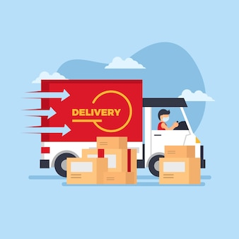 Service de livraison illustré avec conception de masque