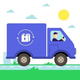 Service de livraison illustré avec style de masque