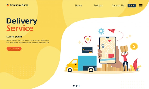 Service de livraison en ligne pour la page de renvoi web