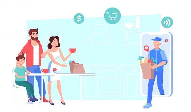 Service de livraison en ligne de produits d'épicerie achetés