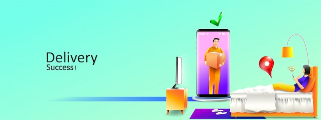 Service de livraison en ligne rapide dans la chambre à la maison par courrier et smartphone. illustration