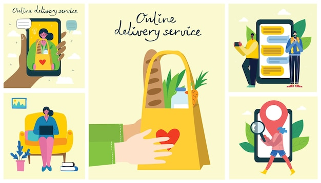 Service de livraison en ligne. style dessiné à la main