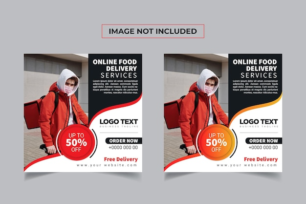 Service de livraison de nourriture conception de poste de bannière de médias sociaux