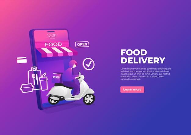 Service de livraison de nourriture en scooter sur bannière de téléphone mobile.