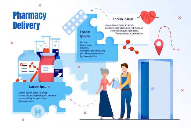 Service de livraison de pharmacie plat
