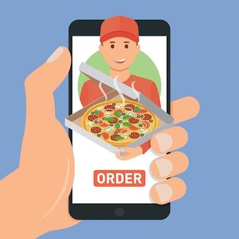 Service de livraison de pizza. achetez des pizzas avec un smartphone