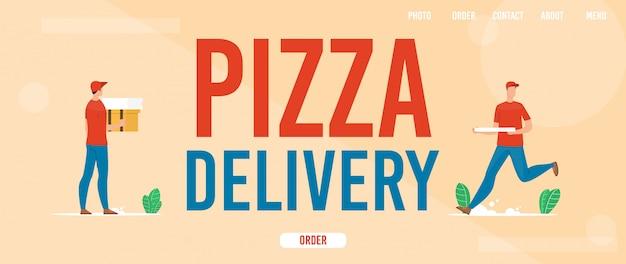 Service de livraison de pizza bannière web plat