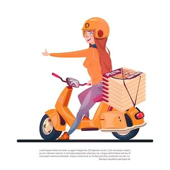 Service de livraison de pizzas jeune fille chevauchant un scooter électrique transportant de la nourriture dans un restaurant