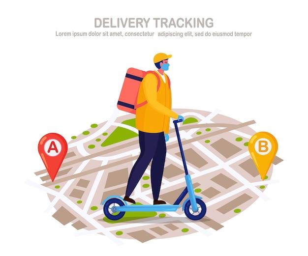 Service de livraison rapide gratuit par trottinette. le courrier livre la commande de nourriture. l'homme dans un masque respiratoire avec un colis voyage sur une carte.