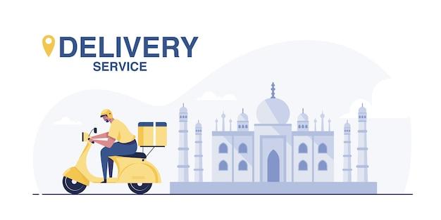 Service de livraison de scooters. jeune livreur indien avec colis monté sur une moto.