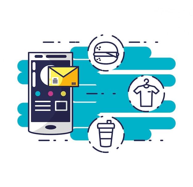 Service de livraison avec smartphone et icônes