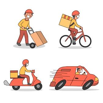 Service de livraison avec thème d'illustration de masque