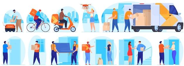 Service de livraison. le transporteur livre le colis.