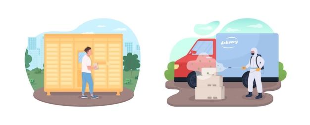 Service de livraison de verrouillage défini les personnes pendant la pandémie des personnages plats sur le dessin animé expédition pendant l'épidémie de covid