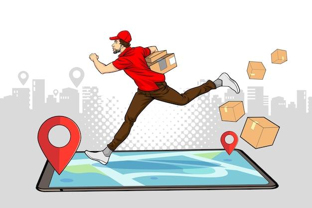 Service de livreur en cours d'exécution boîte de maintien avec navigation sur smartphone dans un style comique pop art