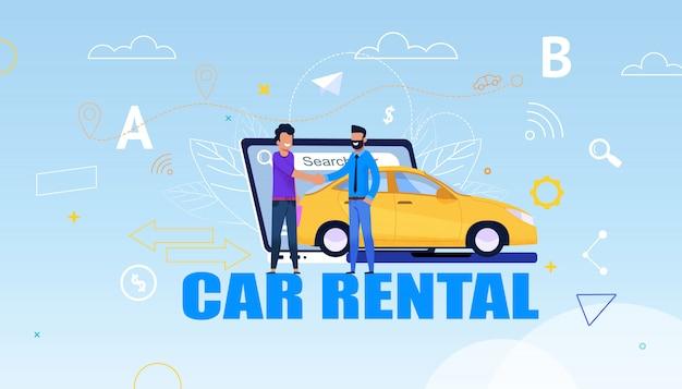Service de location de voitures et rencontre avec un homme, sourire et secousse près de yellow rental