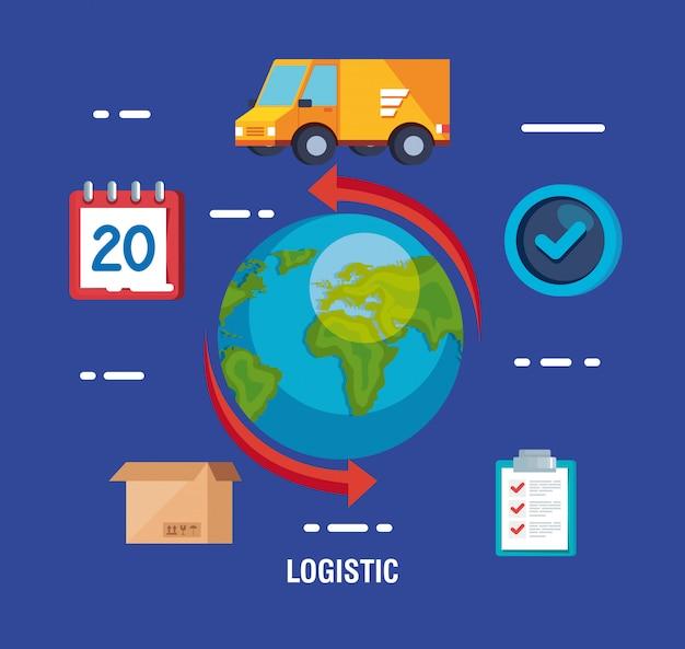Service logistique de livraison avec monde et icônes