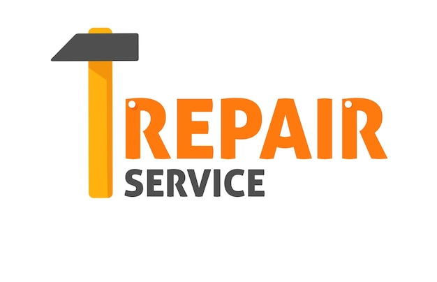 Service de maintenance ou de réparation signe style cartoon plat vector illustration