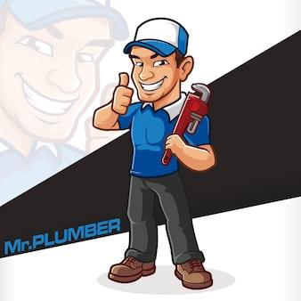 Service de mécanicien plombier mascotte cartton